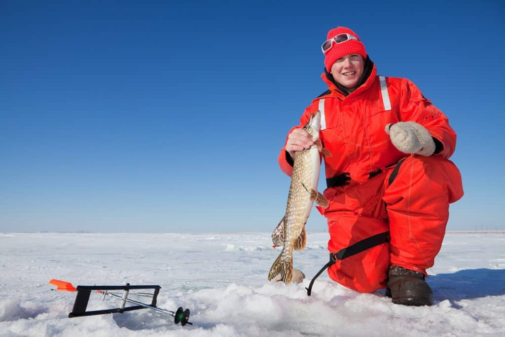 ice fishing fish finder article feature image of a fisherman holding a pike on the ice