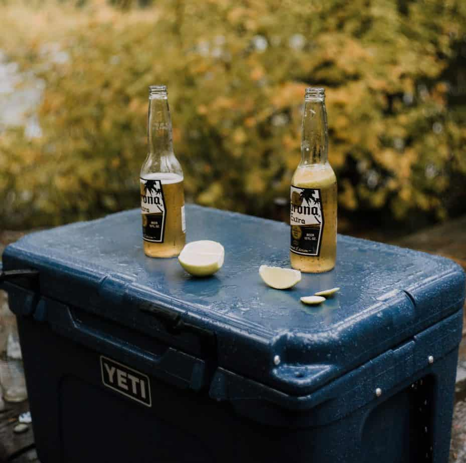 Yeti tundra with beers on top cooler