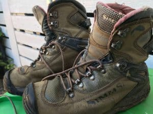 Simms Guide G3 boots used close up