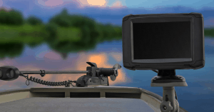 Best fish finder under 200 feature image of a boat deck with trolling motor and a fish finder