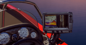 Best fish finder under 500 feature image boat red with fish finder