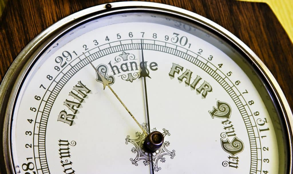 A close up image of an antique banjo barometer
