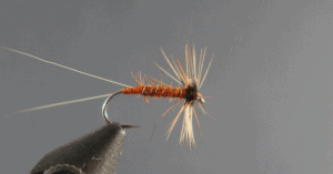 Fly tying macro photo of a red spinner against a grey background