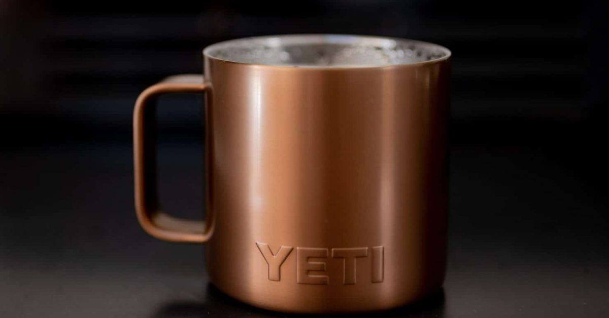 Close up Yeti mug copper color